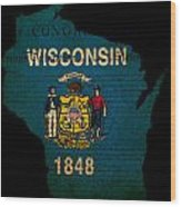 Usa American Wisconsin State Map Outline With Grunge Effect Flag Wood Print