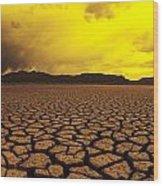 Usa, California, Cracked Mud In Dry Wood Print