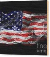 Usa Flag Smoke  Wood Print