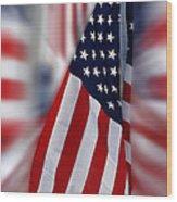 Usa Flags 03 Wood Print