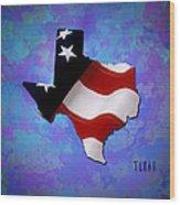 Usa Flagtexas State Digital Artwork Wood Print