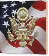 U. S. A. Great Seal In Gold Over American Flag  Wood Print