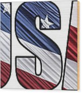 Usa In Red White And Blue American Patriotic Flag Wood Print