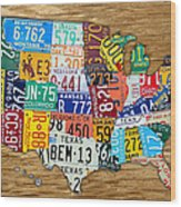 Usa License Plate Map Car Number Tag Art On Light Brown Stained Board Wood Print