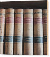 Usa, Nevada Old Law Books In Library Wood Print