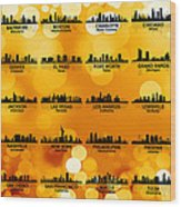 Usa Skylines 3 Wood Print