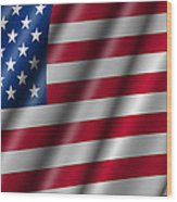 Usa Stars And Stripes Flying American Flag Wood Print by David Gn