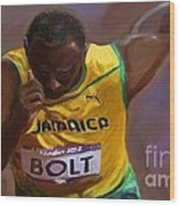 Usain Bolt 2012 Olympics Wood Print by Vannetta Ferguson