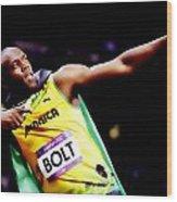 Usain Bolt Sweet Victory II Wood Print