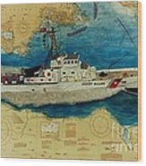 Uscg Cuttyhunk Nautical Chart Art Peek Wood Print