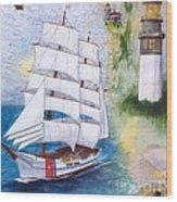 Uscg Tall Ship Eagle Chart Art Peek Wood Print