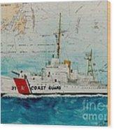 Uscgc Bibb Nautical Chart Cathy Peek Wood Print