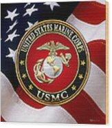 U S M C Eagle Globe And Anchor - E G A Over American Flag. Wood Print
