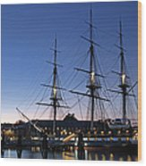 Uss Constitution And Bunker Hill Monument Wood Print