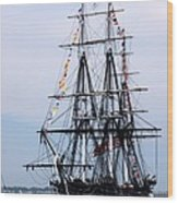 Uss Constitution Wood Print by Nancy A Santry