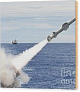 Uss Cowpens Launches A Harpoon Missile Wood Print