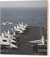 Uss Enterprise Conducts Flight Wood Print