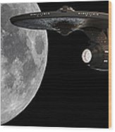 Uss Enterprise With The Moon And Jupiter Wood Print by Jason Politte
