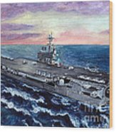 Uss George H.w. Bush Wood Print by Sarah Howland-Ludwig