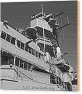 Uss Iowa Battleship Portside Bridge 01 Bw Wood Print