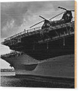 Uss Midway Helicopter Wood Print