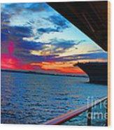 Uss Midway Sunset Wood Print