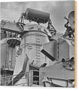 Uss Missouri- Radar System Wood Print