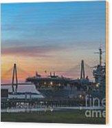 Uss Yorktown Sunset Wood Print