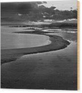 Utah Lake Shoreline In Monochrome Wood Print