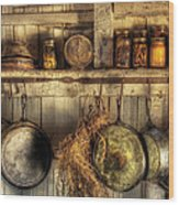 Utensils - Old Country Kitchen Wood Print by Mike Savad
