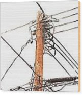 Utility Pole Hung With Electricity Power Cables Wood Print