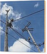 Utility Poles And Clouds 2 Wood Print