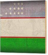Uzbekistan Flag Vintage Distressed Finish Wood Print