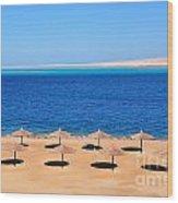 Parasol At Red Sea,egypt Wood Print