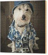 Vacation Dog Wood Print