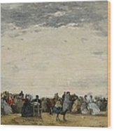 Vacationers On The Beach At Trouville Wood Print by Eugene Louis Boudin