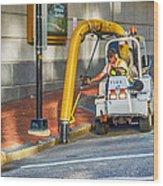 Vacuuming The Sidewalk Wood Print