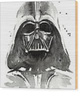 Darth Vader Watercolor Wood Print