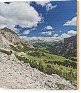 Val Badia From Gardena Pass Wood Print