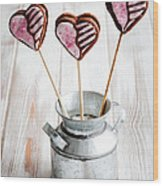 Valentine Cookie Pops Wood Print