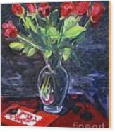 Valentine Roses Wood Print