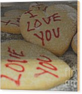 Valentine Wishes And Cookies Wood Print
