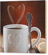 Valentine's Day Coffee Wood Print