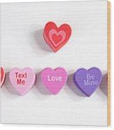 Valentine's Day Hearts Wood Print