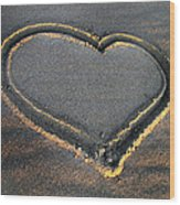 Valentine's Day - Sand Heart Wood Print