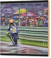 Valentino Rossi Fans Line The Fence Wood Print