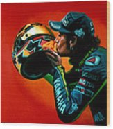 Valentino Rossi Portrait Wood Print by Paul Meijering