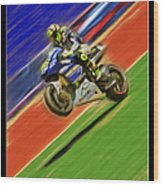 Valentino Rossi Wheely Down The Blue Red And Green Wood Print