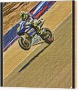 Valentino Rossi Wheely Down The Corkscrew Wood Print