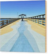 Valero Beach Fishing Pier Wood Print